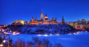 Parliament Hill in Winter at Night