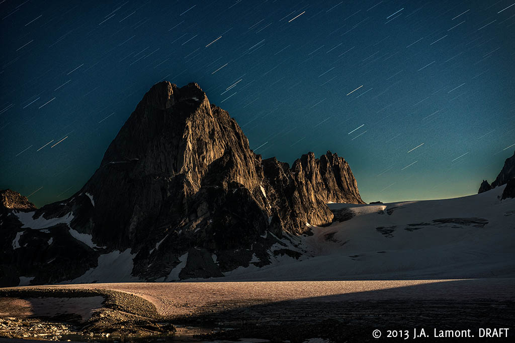 Bugaboo and Snowpatch Spires by Moonlight,  2013, 20 by 30 pigment print